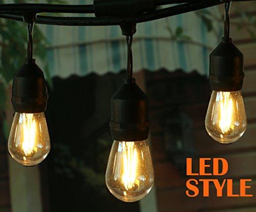 LED Outdoor Commercial Grade Lights ¨C Weatherproof Technology-48Ft Heavy Duty Strand includes 15 Energy-Saving LED Bulbs & Sockets E26 Base-Perfect Patio Backyard Lights, Black (Tent 2 Orb)