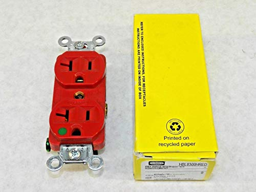 New RED Duplex Receptacle Hubbell Wiring Device-Kellems, HBL8300HRED CT ()