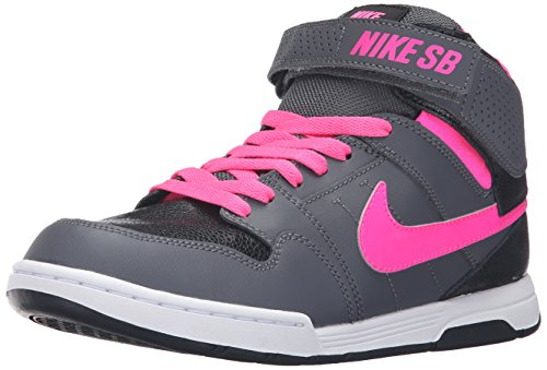 NIKE Boys' Mogan Mid 2 Jr Skateboarding Shoe, Dark Grey/Pink Blast/Black/White, 6 M US Big Kid