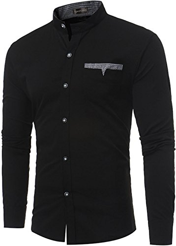 Herren Casual Button Tops Down Jza123 Sportides Chemises Plaid Jza102 Shirts Sleeve black Check Long SwxqHdB