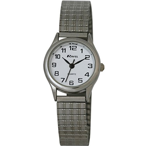 (Ravel Easy Read Watch on Expandable Women's Quartz Watch with White Dial Analogue Display and Silver Stainless Steel Plated Bracelet R0301082S)