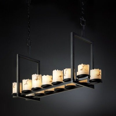 Justice Design Group LumenAria 14-Light Chandelier - Matte Black Finish with Faux Alabaster Resin Shade