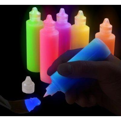 Set of 6 Super Glow in the Dark Glowing Paints