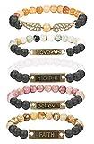 Finrezio 5 PCS Bead Bracelets for Women Aromatherapy Essential Oil Diffuser Natural Lave Rock Stone Bracelet Set 8MM (Style A: 5 PCS of Elastic)