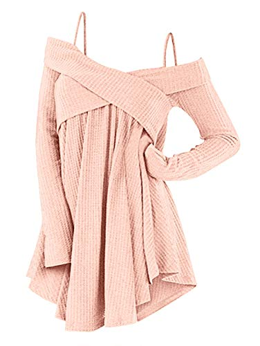 der Crisscross Tunic Sweater Women Straps Long Sleeve Knitwear Pullover Shirt Tops Pig Pink S ()