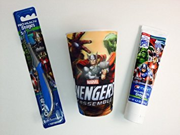 Price comparison product image Avengers Toothbrush Bundle Toothpaste Cup Set Dental Hygiene Marvel (Blue)