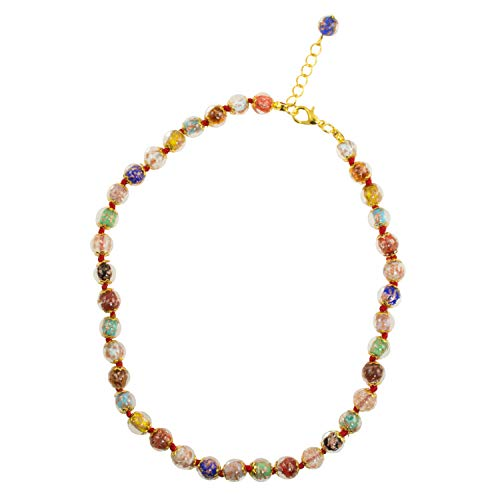 Just Give Me Jewels Venice Murano Sommerso Aventurina Glass Bead Strand Necklace in Multi-Colors, 16+2