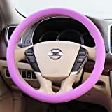 HY- WENQI ? Silicone Small Leather Grain Universal Cover for Car Steering Wheel , Light Pink
