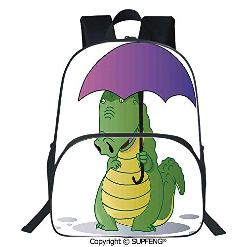 Crocodile Leather Pencil Cup - Laptop Backpack Cute Crocodile Standing with Umbrella Rain Cartoon Humor Fiction Safari Design Decorative (15.75