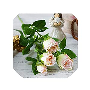 crystal004 4 Branchs Rose Bud Artificial Flowers for Wedding Simulation Flower Home Vase Hotel Props Party Decor Valentine's Gift,2 17