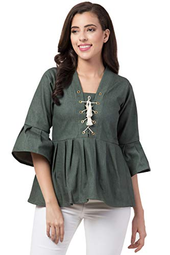 BESTIC FASHION Casual Bell Sleeve Solid Women Green Top