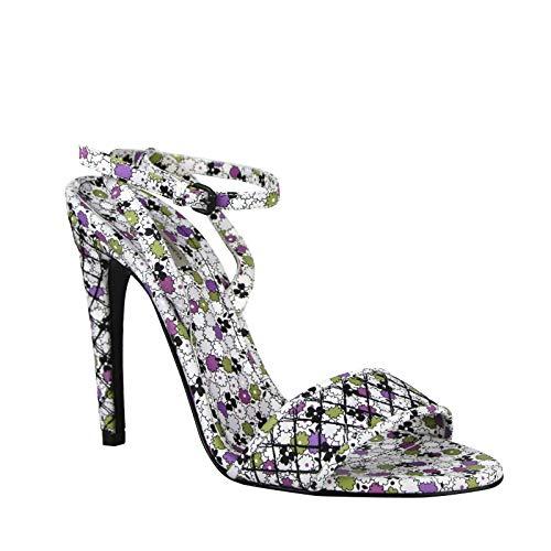Bottega Veneta Green/Purple Floral Leather Ankle Strap Heels 430539 8404 (IT 39 / US 9)