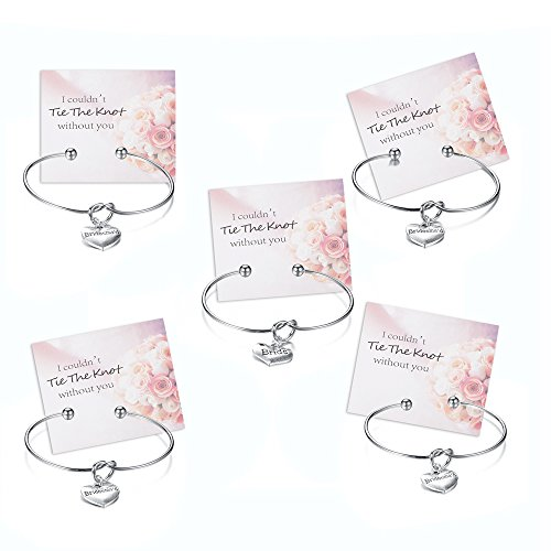 Mookoo Bridesmaids Bride Bracelets Wedding Gift 5 pcs Silver Love Knot Open Bangle for Women and Girls