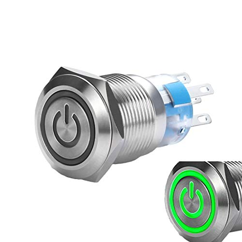 (WerFamily 19mm Momentary Push Button Switch 1NO 1NC SPDT ON/Off Waterproof Stainless Steel Metal Round with Green LED Angel Eye + Power Indicator )