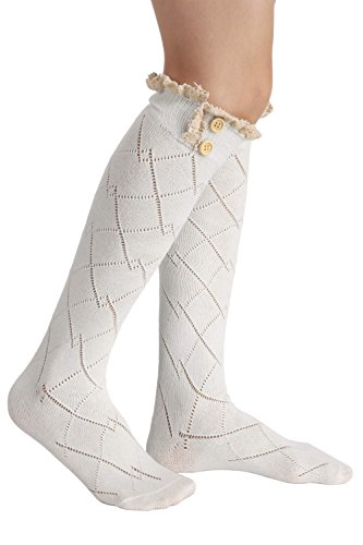Avidlove Women Socks Lace Trim Leg Warmers Button Boot Cuffs Toppers White (FBA) Button Trim Boot