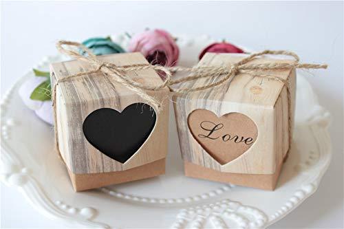 - Box Hasp - 500pcs Wedding Hearts In Love Rustic Kraft Imitation Bark Diy Candy Box With Burlap Chic Vintage - Latch Brass Lock