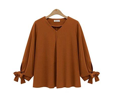 XL unie Tops V Droites 5XL Taille Mousseline Couleur Blouse Shirt Femmes Col Camel Longues Size Grande Fit Slim en Pullover Manches Chemise Z8HFnA6