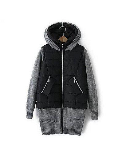 algodón manga amp; ShangYi TT relleno algodón Casual liso Simple de larga mujer Abrigo zAOZxwPq