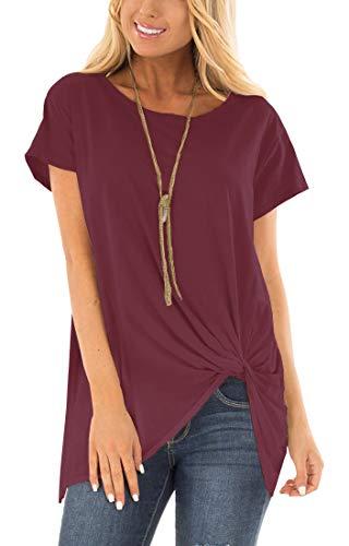 Viishow Womens Boatneck Casual Short Sleeve T Shirt Women Cotton Side Knot Twist Wine red XXL