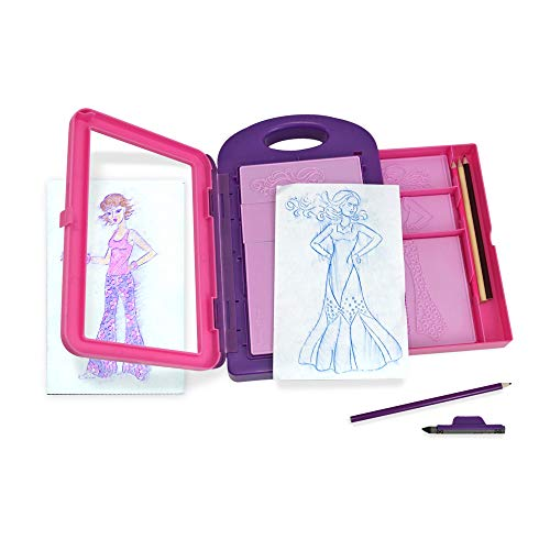 Melissa & Doug Fashion Design Activity Kit (Arts & Crafts, 9 Double-Sided Rubbing Plates, 4 Pencils, Crayon, 16 Pieces, Great Gift for Girls and Boys - Best for 5, 6, 7 Year Olds and Up)