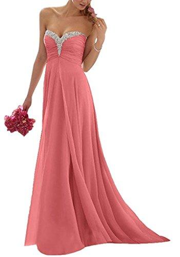 Langes Brau Festlichkleider La Pailletten Wassermelon Partykleider Chiffon Abendkleider mit mia Steine Traegerlos Ballkleider tfHwqTg