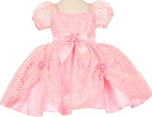 [Flower Girl Dress Cap Sleeve Lace Clip Up Skirt for Baby & Infant Pink 18M SB.L443H] (Baby Animal Dresses)