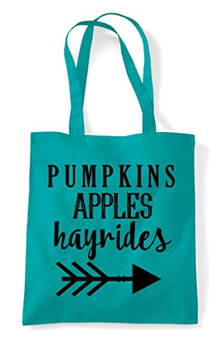 Pumpkins And Statement Fall Shopper Apples Bag Emerald Hayrides Autumn Tote 15q1r
