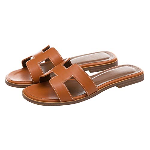 June in Love Women's Flat Casual Fashion Summer Sandals Slippers outsdoor Open Toe H Shape Slippers Matte Brown 8.5 US (The Best In The)