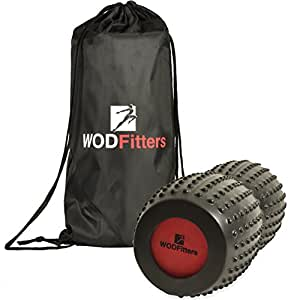 """WODFitters Peanut Foam Roller   Durable & Anti Slip EVA Roller For Deep Tissue Massage   Ideal For Muscle Pains & Soreness, Physical Therapy, Pain Relief & Myofascial Release (Black, 13"""")"""