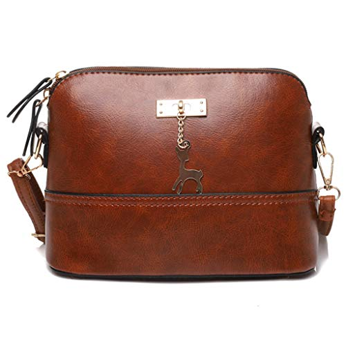lmx+3f Fashion Mother's Day Totes Messenger Bag for Womens Leather Crossbody Bag Fawn Pendant Shell Shoulder Bag Handbag