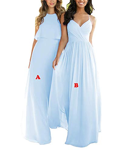 - Nicefashion Women's Chiffon V-Neck Open Back Empire Bridesmaid Dress Long A-Line Evening Party Gowns Size 10 Light Blue