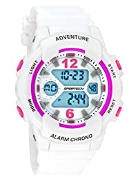 Women's Watches by Sportech - White and Mettallic Pink Active Digital Sport Watch - Make Every Second Count - SP12504
