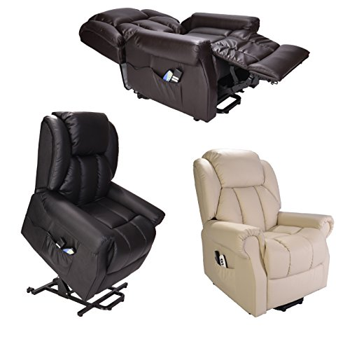 Hainworth Leather Dual Motor riser recliner chair with heat and massage -...