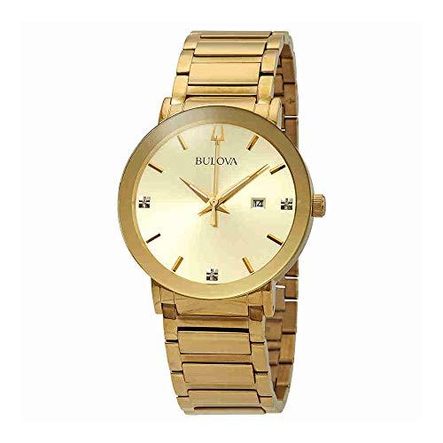 Bulova Watch Mens Bracelet Collection (Bulova Men's Modern Collection Goldtone Stainless Bracelet Watch with Diamond Aceents)