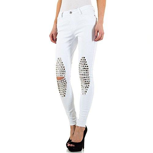 Destroyed Nieten Skinny Jeans Für Damen , Weiß In Gr. 36 bei Ital-Design