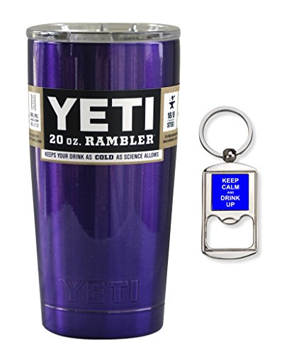 YETI Coolers Custom Stainless Steel 20 Ounce (20oz) (20 oz) Rambler Tumbler Cup Mug with Lid and Bottle Opener Keychain (Purple Metallic)