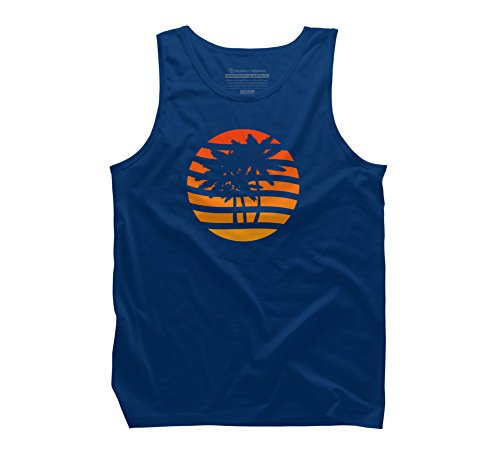 (Palm Trees Grunge Sunset Men's Small Royal Graphic Tank Top - Design By Humans)