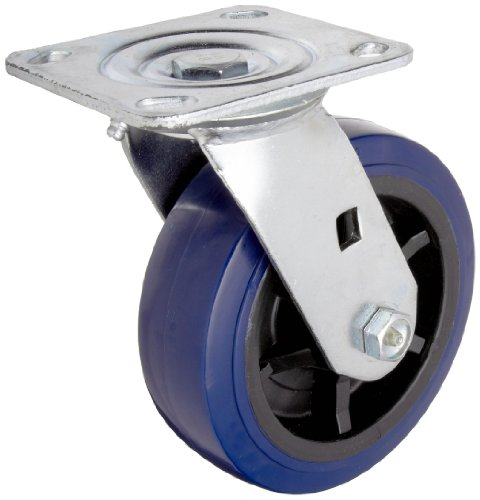 RWM Casters 46 Series Plate Caster, Swivel, Urethane on Polypropylene Wheel, Roller Bearing, 900 lbs Capacity, 6