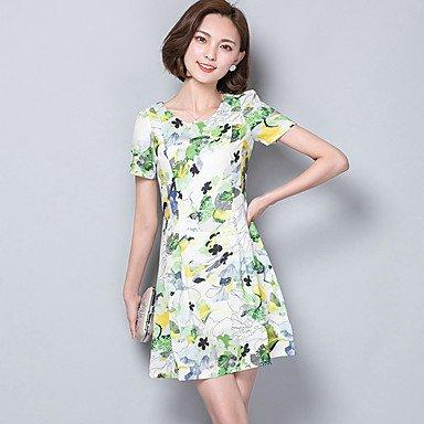 PU&PU Robe Aux femmes Gaine simple,Imprimé Col Arrondi Au dessus du genou Coton / Polyester , rainbow , 2xl