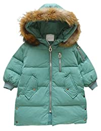 JELEUON Big Girls Kids Child Winter Warm Hooide with Soft Fur Jackets Snowsuit Zipper Pocket Sweety Coats Outwear