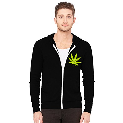 (Decal Serpent Pot Leaf Men's Triblend Full-Zip Lightweight Hoodie - [Black][M])