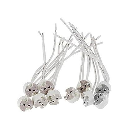 Haobase 15pcs Ceramic Gu5 3 Mr16 Lamp Holder Connector Socket For