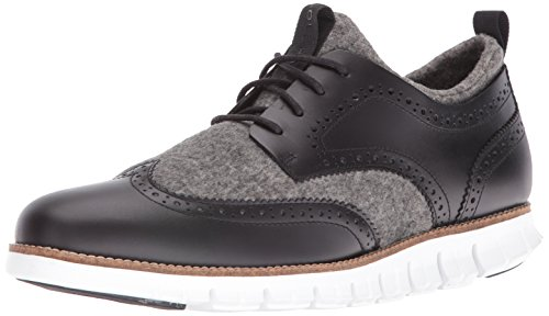 Cole Haan Men's Zerogrand Short Wing Bootie Oxford, Black Leather/Neoprene/Optic White, 13 M US