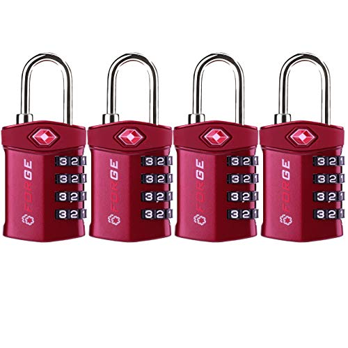 (4 Digit TSA Approved Luggage Lock, 4 Pack Red, Inspection Indicator, Alloy Body)