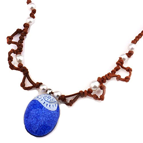 Moana Maui Necklace Jewelry Gifts - Blue Moana Heart Necklace for Girls