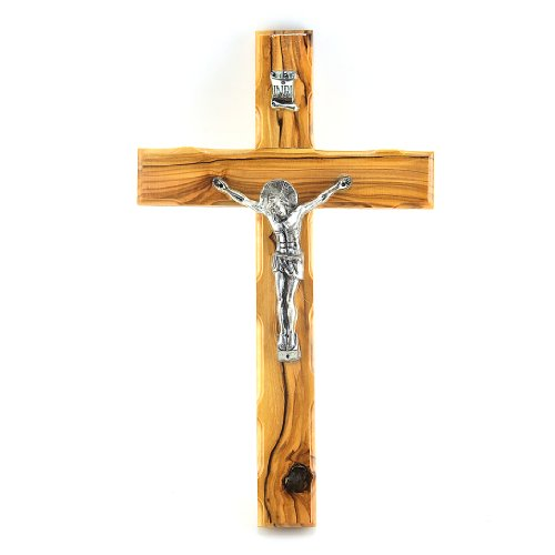 (Authentic Olive Wood Wall Hanging Cross with Pewter Crucifix 10