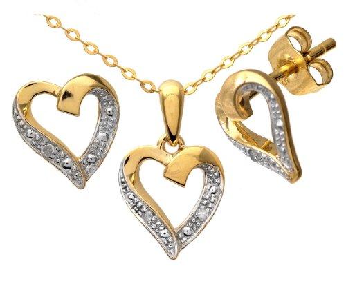Naava - Parure Collier et Boucles d'Oreilles - SET4605/5058Y - Femme - Or Jaune 375/1000 (9 Cts) 1.85 Gr - Diamant 0.005 Cts