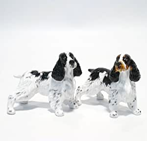 English Springer Spaniel Dog Ceramic Figurine Salt Pepper Shaker 00002 Ceramic Handmade Dog Lover Gift Collectible Home Decor Art and Crafts