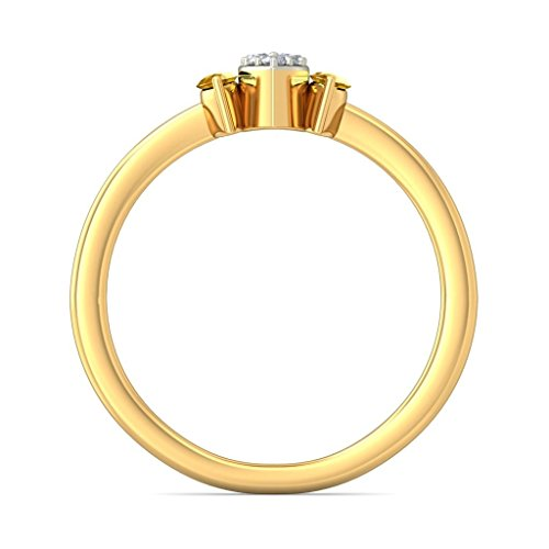 14K Or jaune, 0.07carat Diamant Blanc (IJ   SI) Saphir Jaune et diamant Bague