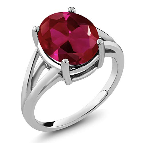 (Gem Stone King 925 Sterling Silver Red Created Ruby Women's Ring 5.00 Ct Oval (Size 9))